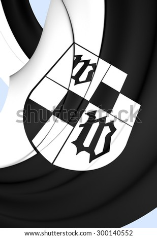 3D Flag of Wunsiedel City, Germany. Close Up.    - stock photo