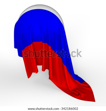 3d Flag on the sphere. Russia Federation - stock photo