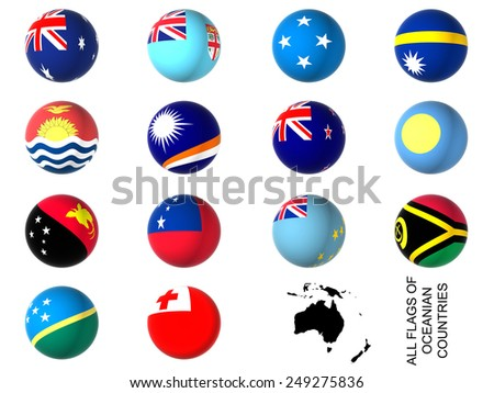 3D flags of oceania countries