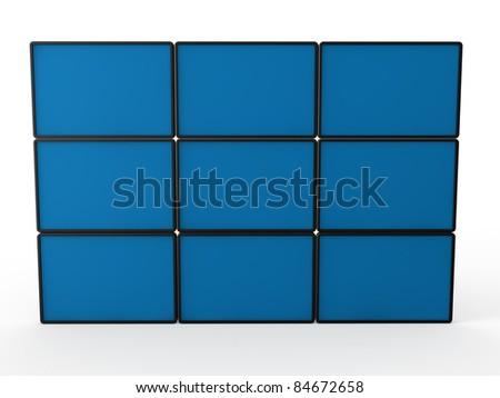 3d flat lcd wall tv blue technology - stock photo