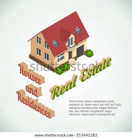 3d flat real estate with bushes. Space for text - stock photo