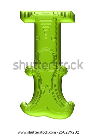 3D Floral alphabet I in green color on isolated white background. - stock photo