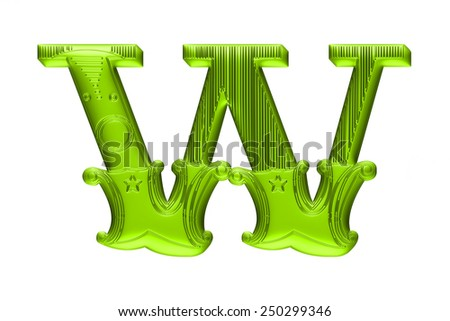 3D Floral alphabet W in green color on isolated white background. - stock photo