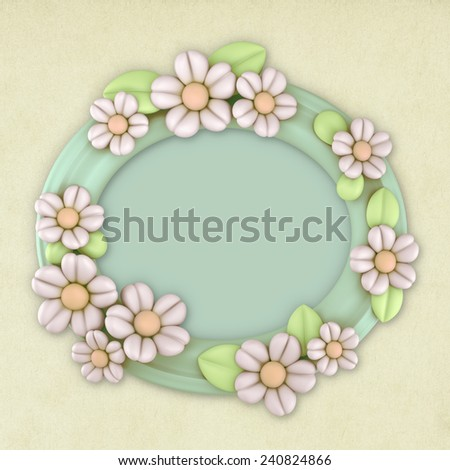 3D Flower Oval frame decoration, object on paper texture background - stock photo