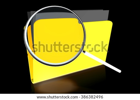 3D folder concept and magnifying glass. - stock photo