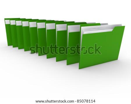 3d folder green file paper data business - stock photo