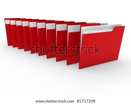 3d folder red file paper data business - stock photo