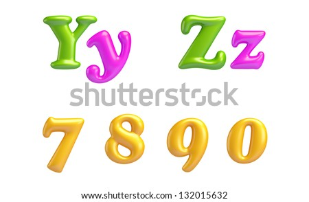 3D Font creative. ABC collection. Isolated. Alphabet type letters with numbers and symbols. Y, Z, 7, 8, 9, 0. High Quality clean sharp letters. Yummy ALPHABET COLLECTION. - stock photo