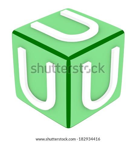3d Font Cube Letter U - stock photo