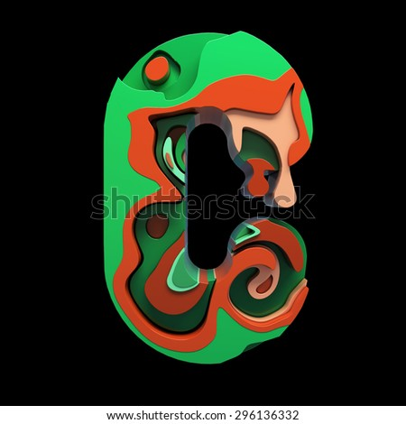 3d font letter C with colorful marbling effect - stock photo