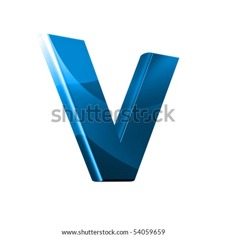3D font with abstract BLUE texture - V - stock photo