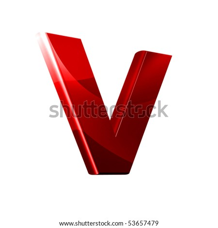 3D font with abstract red texture - V - stock photo