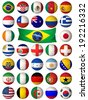 3D football balls decorated with flags of the countries that participate in the 2014 World Cup - stock vector