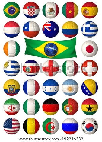 3D football balls decorated with flags of the countries that participate in the 2014 World Cup - stock photo