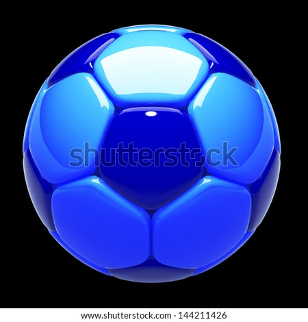 3d football, soccer ball standard pattern cool, cold tone dark blue, light blue in isolated background with clipping paths included - stock photo