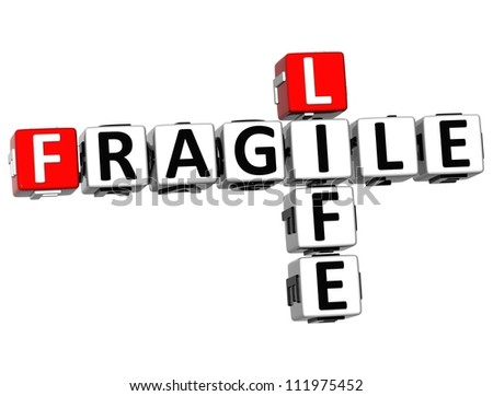 3D Fragile Life Crossword on white background - stock photo