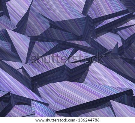 3d fragmented stripe pattern purple blue backdrop - stock photo