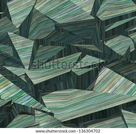 3d fragmented wood timber tile pattern in blue green - stock photo