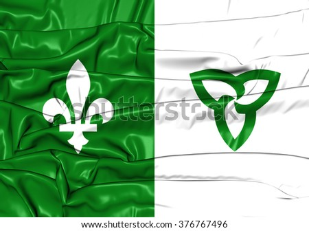 3D Franco-Ontarian Flag. Ontario, Canada. Front View.  - stock photo