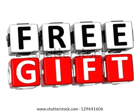 3D Free Gift Button Click Here Block Text over white background - stock photo