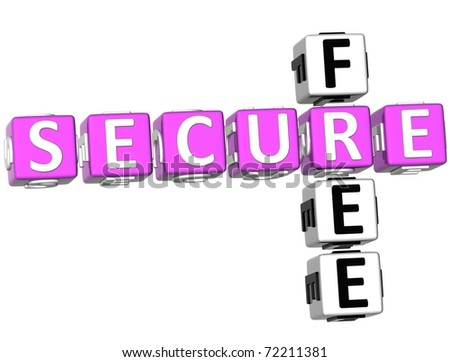 3D Free Secure Crossword on white background - stock photo