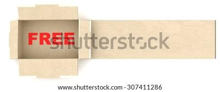 3D free shipping cardboard - stock photo