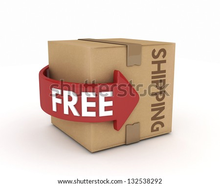3D free shipping cardboard isolated - stock photo