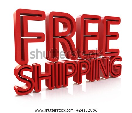 3D Free Shipping text on white background in the design of information related to the delivery. 3d illustration - stock photo