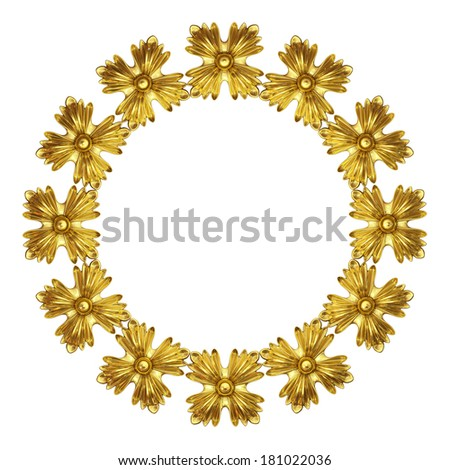 3d fretwork made of gold on a white background