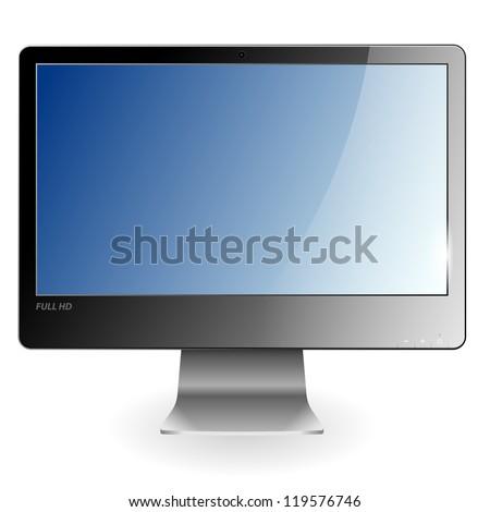 3D Full HD Monoblock with Empty Screen, illustration - stock photo