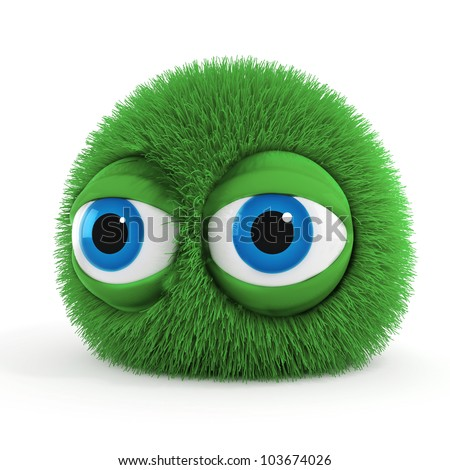 3d funny fluffy creature with big blue eyes - stock photo