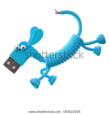3d funny icon, usb connector dog, technology humorous animal, USB connection character with blue cable  - stock photo