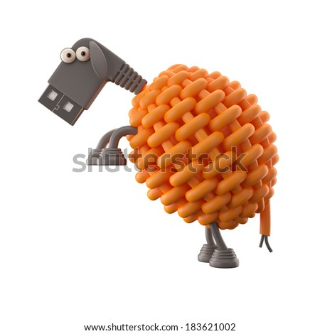 3d funny icon, usb connector sheep, technology humorous animal, USB connection character with orange cable  - stock photo