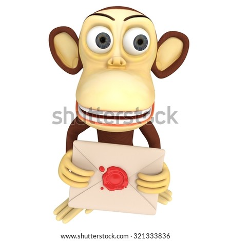 3d funny monkey hold envelope with red wax seal. 3D render isolated on white.