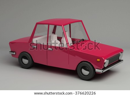 3d funny retro styled red car. Glossy bright  vehicle on grey background with realistic shadows. Three-quarter view from above - stock photo