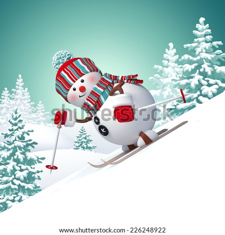 3d funny snowman skiing downhill, winter landscape background - stock photo