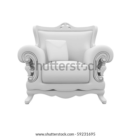 3d furniture armchair detailed isolated on white