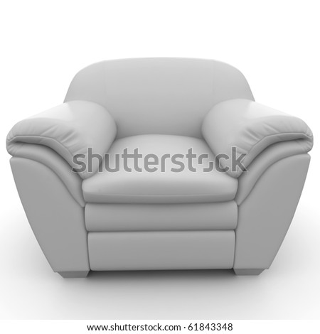 3d furniture detailed chair  isolated on white - stock photo