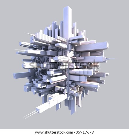 3d futurist city with buildings on gray background - stock photo
