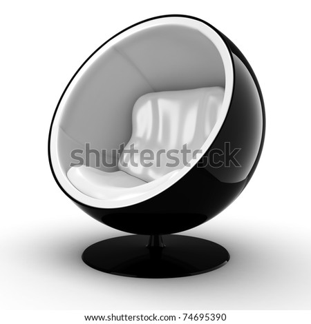 3d futuristic arm chair onwhite background - stock photo