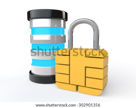 3d futuristic server and lock - stock photo
