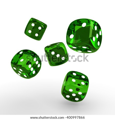 3d game green dices rolling on white table  - stock photo