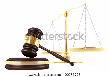 3d gavel and scales - stock photo