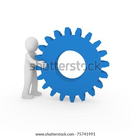 3d gear blue human man teamwork business technology - stock photo