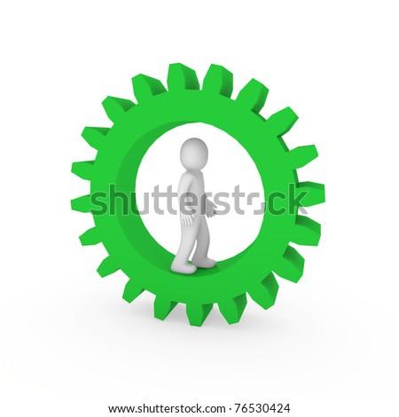 3d gear green human man business teamwork technology - stock photo