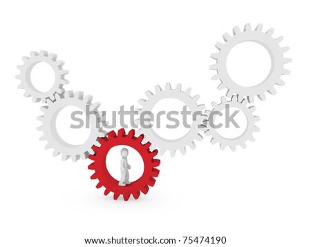 3d gear human man red teamwork circle business - stock photo
