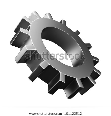 3D gear isolated on white - stock photo
