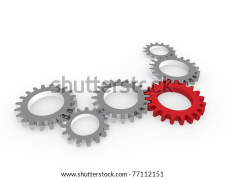 3d gear red steel chrom machine metal technology - stock photo