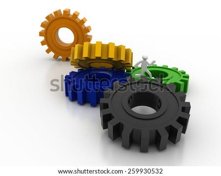 3D Gear...The mechanism - stock photo