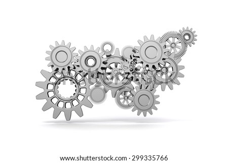3d gear wheels on white background - stock photo